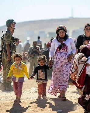 Desplazados sirios que huyen de la guerra.