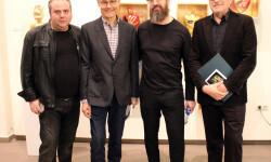 Los comisarios de la exposición Alex Villar y Josep Lozano con Jarr y Pere Blanco