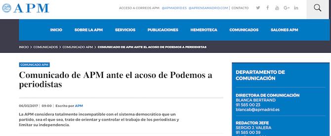 Periodistas acosados y presionados por el equipo directivo de Podemos