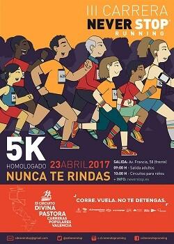 Cartel de Ia carrera Never Stop Running.