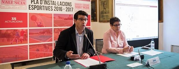 El presidente Jorge Rodríguez y la diputada Isabel García en la presentación del Plan de Instalaciones Deportivas. (Foto-Abulaila).