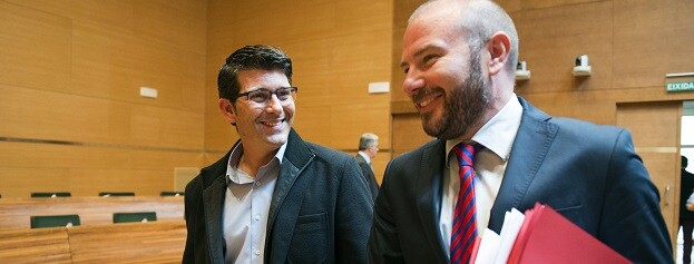 El presidente de la Diputación de Valencia, Jorge Rodríguez, y el diputado de Hacienda, Toni Gaspar. (Foto-Abulaila).