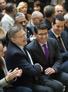 Jorge Rodríguez y Ximo Puig durante la presentación del Fondo de Cooperación Municipal. (Foto-Abulaila).
