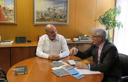 Xavier Rius reunido con el diputado de Cultura de la Diputació d'Alacant, César Augusto Asencio.