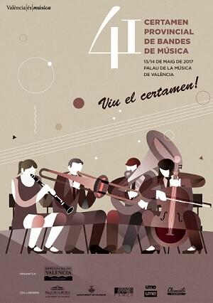 Cartel del 41 Certamen Provincial de Bandas de Música.
