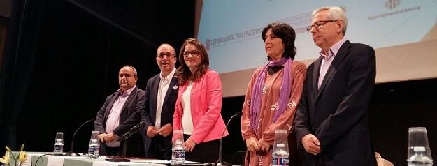 Mónica Oltra en reunión de la Mancomunidad de la Ribera.
