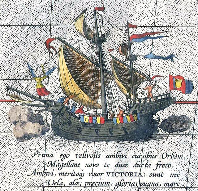 Detalle de un mapa de 1590 mostrando la Nao Victoria.