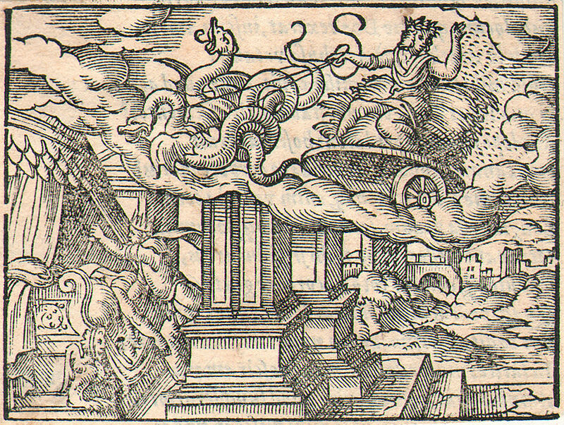 Triptolemus and Lyncus. Engraving by Virgil Solis for Ovid's Metamorphoses Book V, 642-661. Fol. 70r, image 8.