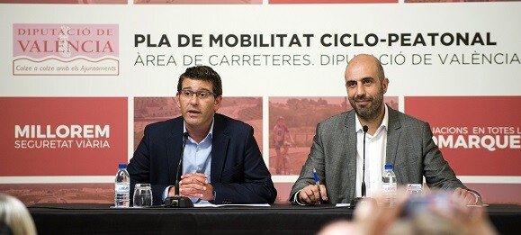 El presidente Jorge Rodríguez y el diputado Pablo Seguí en la presentación del Plan de Movilidad Ciclopeatonal.