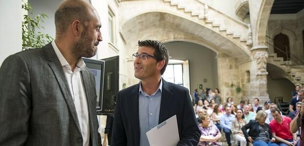El presidente de la Diputación, Jorge Rodríguez, junto al diputado de Carreteras e Infraestructuras, Pablo Seguí.