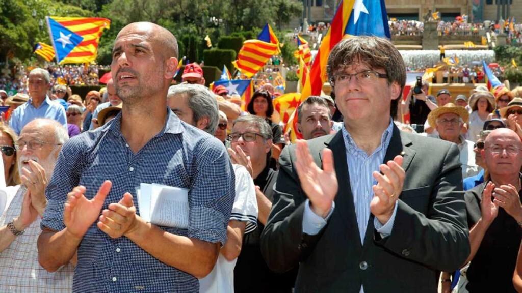 Guardiola lee un manifiesto en nombre de las entidades soberanistas
