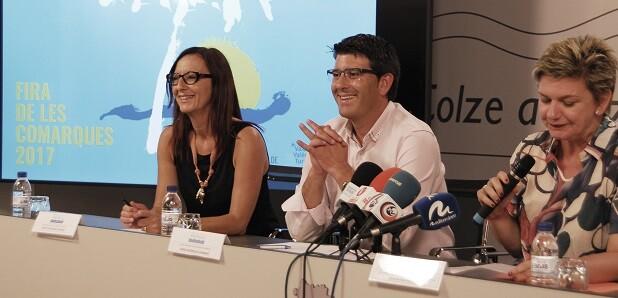 Jorge Rodríguez, Maria Josep Amigó i Pilar Moncho en la presentació de la Fira de les Comarques.