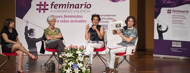 Las ponentes de la mesa redonda sobre Comunicación en el II Feminario de la Diputación de Valencia.