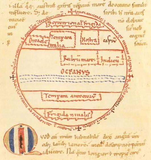 """Mapa que aparece en un manuscrito del siglo XII , copia del """"Comentario al Sueño de Escipión de Cicerón"""" que escribiera Macrobio en el siglo IV en el que se describe una Tierra con forma de globo y que no es más que un pequeño objeto en comparación con la inmensidad del Universo. En la parte superior se encuentra la zona habitada conocida , que está separada de las antípodas por el Océano. La disputa entonces no era si la Tierra era redonda, sino si existían los antípodas. Al respecto , escribía Agustín de Hipona """"Pero sobre la fábula de que existen los Antípodas, es decir, hombres que viven en el lado opuesto de la tierra, donde el sol se levanta cuando para nosotros se pone, hombres que caminan con sus pies opuestos a los nuestros, eso no es creíble en modo alguno. Y, ciertamente, no se afirma que se haya aprendido tal cosa por conocimiento histórico, sino por conjetura científica, basándose en que la tierra está suspendida dentro de la concavidad del cielo, y que tiene tanto espacio en un lado como en el otro: por ello afirman que la parte bajo nosotros también debe de estar habitada. Pero no remarcan que, aunque se supone científicamente demostrado que el mundo tiene una forma esférica y redonda, de eso no se sigue que la otra cara de la tierra esté libre de agua; ni tampoco, aunque estuviera realmente libre de agua, se sigue que esté necesariamente habitada"""