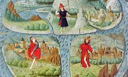 Adaptación del siglo XV de un mapa O-T. Este tipo de mapamundi medieval ilustra tan solo la parte accesible de una tierra esférica, ya que se creía que nadie podía ser capaz de cruzar el clima tórrido cerca del ecuador para pasar al otro lado del globo.