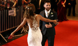 Argentine soccer player Lionel Messi and his wife Antonela Roccuzzo make an appearance for the press at their wedding in Rosario, Argentina, June 30, 2017. REUTERS/Marcos Brindicci