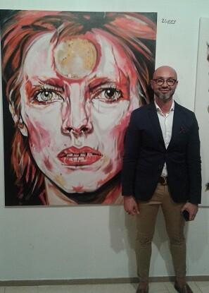 El pintor con David Bowie.