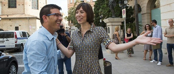 El presidente de la Diputación, Jorge Rodríguez, junto a la alcaldesa de Gandía, Diana Morant.