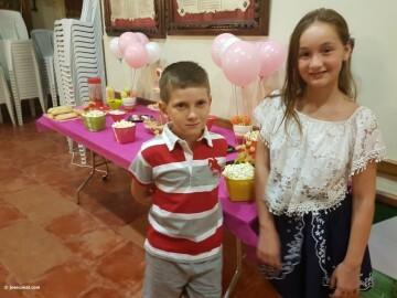 Mireia Cuñat, y Presidente Infantil Merienda con el artista infantil de la falla Plaza de la Mercé (150)