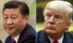 FILE - This combination of file photos show U.S. President Donald Trump, right, in a meeting at the White House in Washington, on March 31, 2017,  and China's President Xi Jinping  in a meeting at the Great Hall of the People in Beijing, on Dec. 1, 2016. President Xi probably won't give President Trump a round of golf during their first face-to-face meeting on April 6-7, but may find it worthwhile to ensure his American counterpart does not feel like he's leaving empty-handed. Some analysts believe Xi might be willing to hand Trump a symbolic victory on trade to put a positive spin on the meeting. (AP Photo/File)