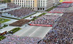 A general view shows a Pyongyang city mass rally held at Kim Il Sung Square on August 9, 2017, to fully support the statement of the Democratic People's Republic of Korea (DPRK) government in this photo released on August 10, 2017 by North Korea's Korean Central News Agency (KCNA) in Pyongyang. KCNA/via REUTERS ATTENTION EDITORS - THIS IMAGE WAS PROVIDED BY A THIRD PARTY. REUTERS IS UNABLE TO INDEPENDENTLY VERIFY THIS IMAGE. NO THIRD PARTY SALES. SOUTH KOREA OUT. NO COMMERCIAL OR EDITORIAL SALES IN SOUTH KOREA.??