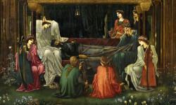 El último sueño de Arturo, pintura deEdward Burne-Jones, en la que se representa comoMorganay otrashadasvelan por el sueño del rey /Wikipedia