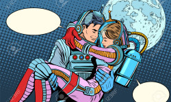 Couple astronauts love man woman pop art retro style. Science fiction and space exploration. Wedding love and Valentines day. Heroic poster
