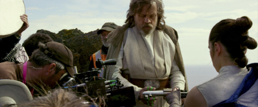 Star Wars: The Last Jedi..L to R: Mark Hamill (Luke Skywalker) with Daisy Ridley (Rey) on set of Skellig Island (Ach-to)..Photo: Lucasfilm Ltd...©2017 Lucasfilm Ltd. All Rights Reserved