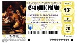 05431 SEGUNDO QUINTO PREMIO LOTERIA NAVIDAD