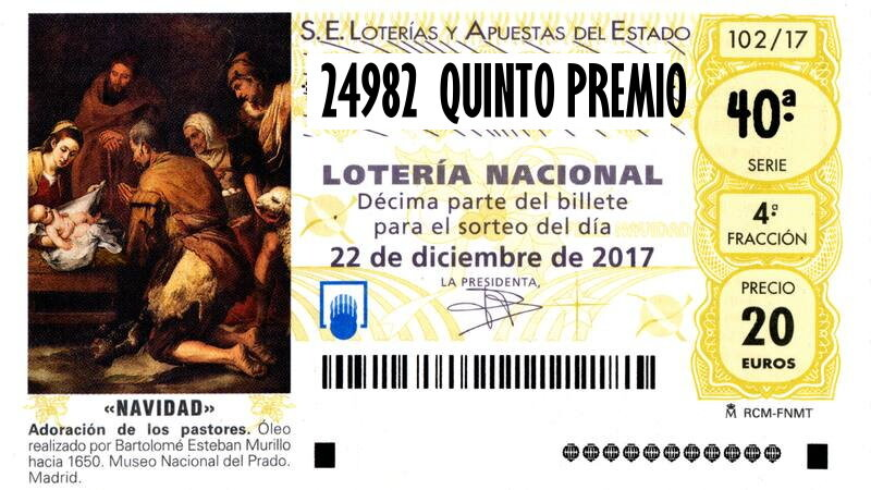 24982 SÉPTIMO QUINTO PREMIO LOTERIA NAVIDAD