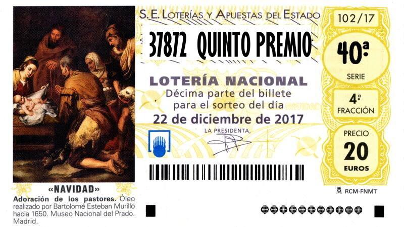 37872 TERCER QUINTO PREMIO LOTERIA NAVIDAD