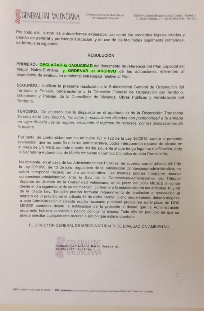 Caducidad y archivo Plan Especial Marjaleria (2)