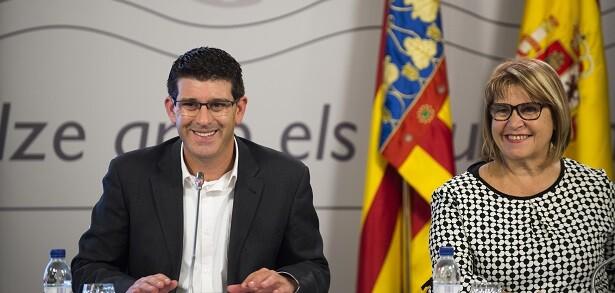 Jorge Rodríguez y Conxa García durante la presentación del Plan de Empleo de la Diputació de València.