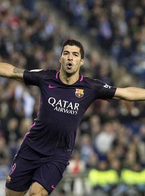Suaréz celebra su gol.