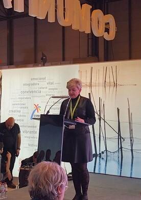 La diputada de Turismo, Pilar Moncho, durante su intervención en la presentación del 'Mètode Valencià' en Fitur.