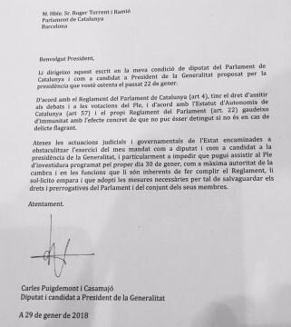 PUIGDEMONT ESCRITO DE AMPARO
