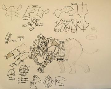bocetos elefante Plaza BIOPARC Valencia