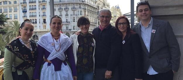 Marta Sorlí, Joan Ribó, Maria Josep Amigó e Iván Martí durante una mascletá en el Ayuntamiento de Valencia