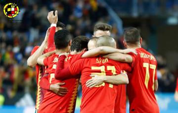 Seleccion Española celebra el Gol