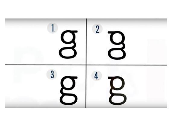 La mayoría de la gente no sabe escribir la letra g que aparece en los textos impresos y trazan figuras erróneas, según un estudio de la Universidad Johns Hopkins con 38 voluntarios. La correcta es la 3. / UJH