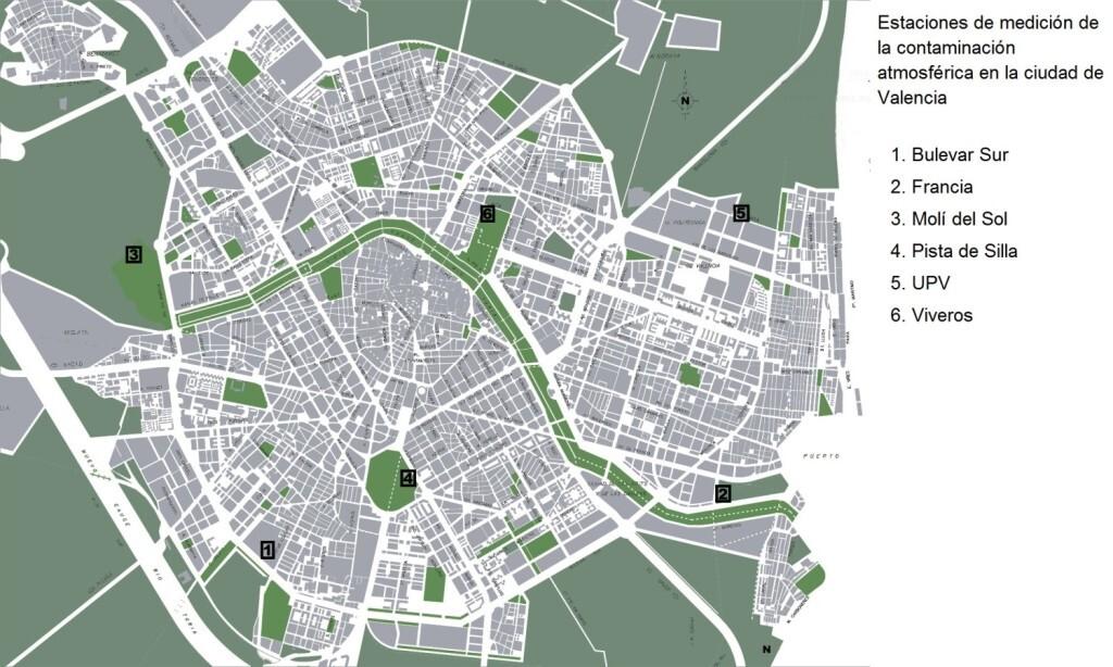 Mapa de estaciones de medición de la contaminación atmosférica en la ciudad de Valencia