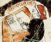 01_Ramon Muntaner en el manuscrit més antic conegut de la seua crònica, del segle XIV