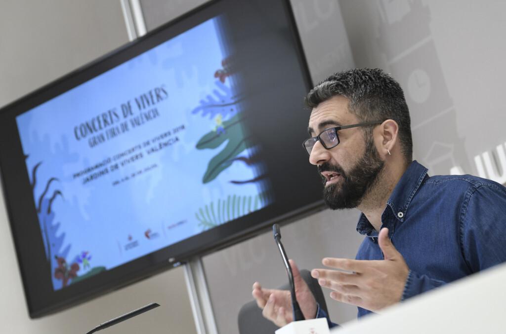El regidor de Cultura Festiva, Pere Fuset, presenta en roda de premsa els Concerts de Vivers de la Gran Fira de València 2018 ,foto Jose Jordan