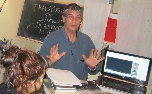 Entraigües habló a los alumnos de la transposición de géneros narrativos.