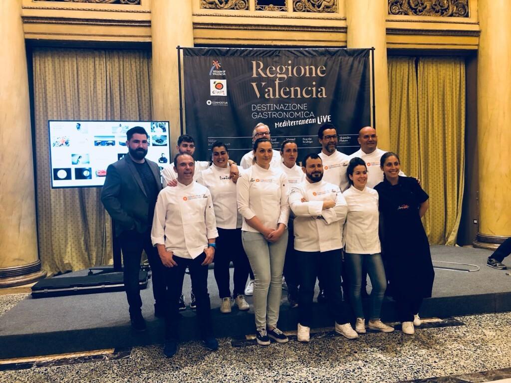 Quique Dacosta, Manuel Alonso, Raúl Resino, Begoña Rodrigo, Mª José Martínez y Alejandro Platero presentan al mercado italiano tapas elaboradas con producto valenciano (1)