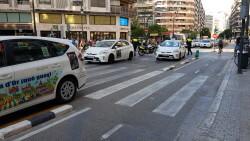 Cerrada a la circulación la calle Colón de València por la huelga de taxistas 20180730_183749(17)