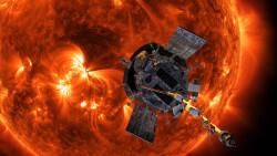 Ilustración de la naveParker Solar Probe en frente del Sol. /NASA/Johns Hopkins APL/Steve Gribben