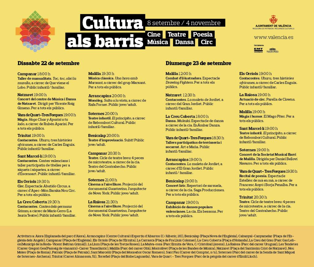 0921 Cultura als barris 22 i 23 setembre