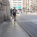 """Valencia en Bici construye este sábado un """"corredor humano"""" para simular un carril bici en la calle Alicante"""