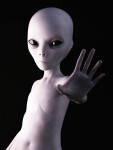 Alien holding its hand up like it's greeting you. 3D rendering. Black background.